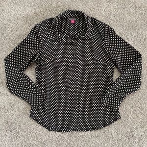 Vince Camuto Floral Polka Dot Silky Blouse